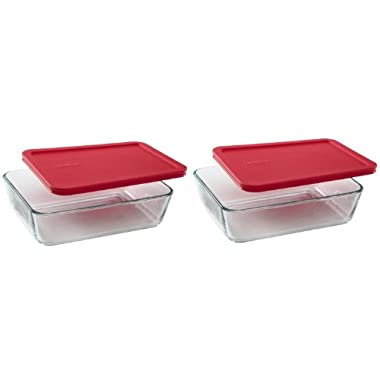 Pyrex 6-Cup Rectangle Food Storage, Pack of 2 Containers