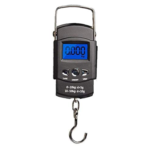 Digital Luggage Scales,Electronic Weighing Scales LCD Backlit Balance Held Balance Hanging Suitcase Scale Fishing Scale (110lb/50kg) With Hook + band Measure