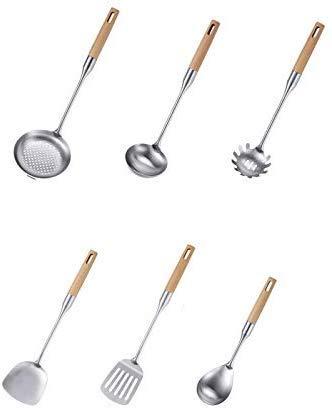 RVS 6 stks Keuken Gebruiksvoorwerp Spatel Vergiet Lepel Soep Lepels Gesloten Schop RVS Keukengerei Houten Handvat Kookgerei Cozinha