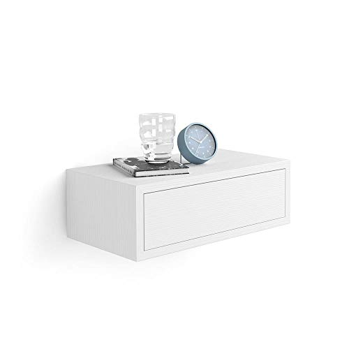 Mobili Fiver, Comodino sospeso Riccardo, Bianco Frassino, Nobilitato, Made in Italy, Disponibile in Vari Colori
