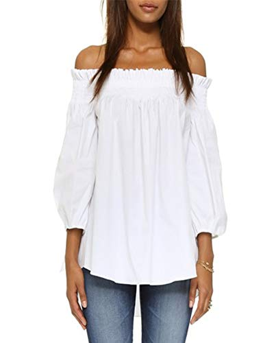 🌹ZANZEA off the shoulder blouses with high quality Polyester is soft, light, breathable, comfortable and opaque fabric, well-stitched, simple basic casual style and comfortable wear. Our off shoulder shirt is sexy and fashionable, is a great gift for...
