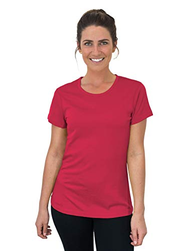 Woolx Women's Addie Soft Lightweight Merino Wool Tee,Eliminates Odor & Sweat, Pink Flamingo, X-Small