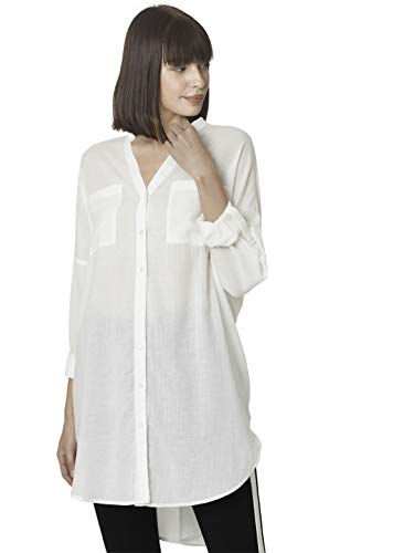 VERO MODA Damen Vmisabell L/S Fold Up Tunic Noos Tunika-Shirt, Snow White, XL