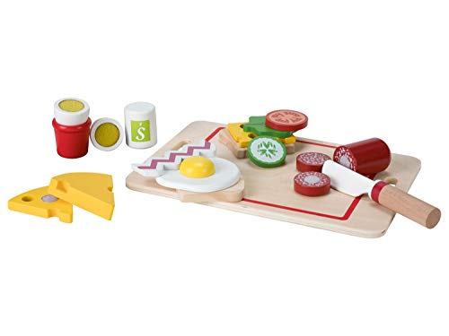 PLAYTIVE Kinder Frühstücks-Set aus Echtholz, 19-teilig, mit Ei, Wurst und Käse aus Holz