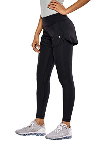 CRZ YOGA Pantalones Deportivos 2 in 1 Leggings para Mujer Running Fitness Training Pants con Bolsillos-63.5cm Negro 40
