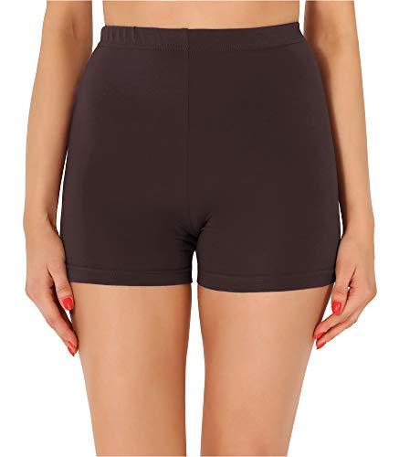 Merry Style Damen Shorts Radlerhose Unterhose Hotpants Kurze Hose Boxershorts aus Baumwolle MS10-358(Braun,L)