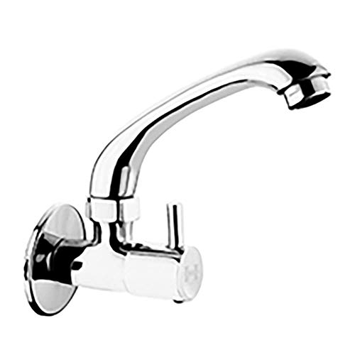 Hindware H Vitreous Cairo H760219 Wall Mounted Brass Sink Cock for Kitchen with Swivel Spout (Chrome)