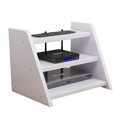 Dongbin Wireless WiFi Box Regalset Router Aufbewahrungsbox Multimedia-Zubehör DREI Schichten, Home-TV-Schrank/Set-Top-Regal/Weiß,Weiß