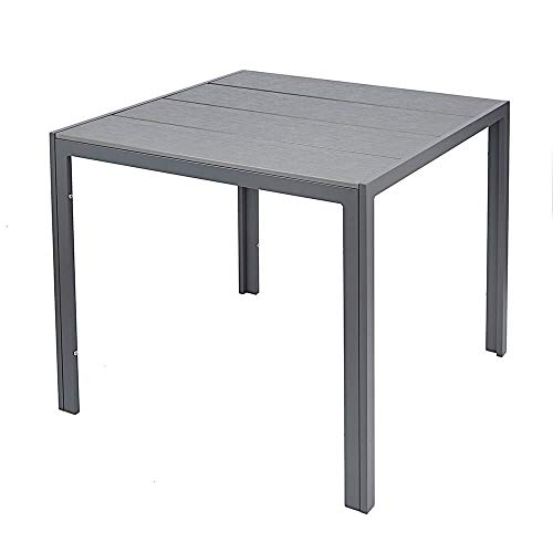Outdoor Garden Table in Grey - 4-Seater Outside Dining Table with Sturdy Aluminium Frame & Durable Polywood Tabletop - Easy to Maintain, Weather Resistant Garden Patio Furniture