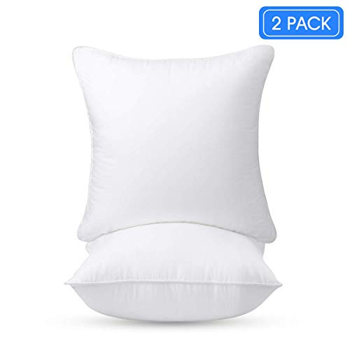 Iyan Linens Ltd Cushion Pad Soft Stuffer Insert – Deluxe Plump Hypoallergenic Pillow Sham Square, Premium Quality White Polyester Hollowfibre – Standard/White - (Pack of 2-24' x 24')