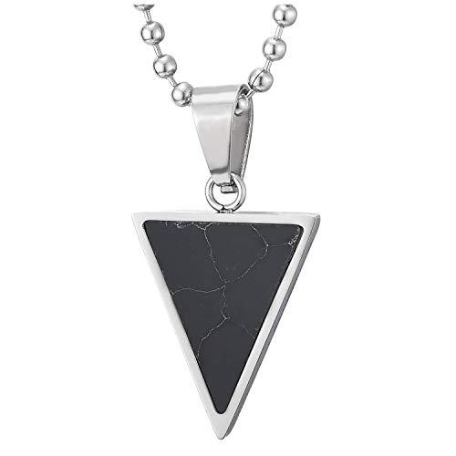 COOLSTEELANDBEYOND Acero Inoxidable Pequeño Invertido Triángulo Colgante con Negro Piedras, Hombre Mujer Collar, Bola Cadena 60CM