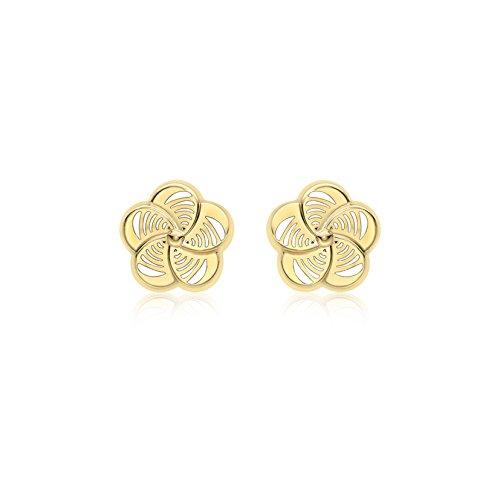 Carissima Gold Women's 9 ct Yellow Gold 8.5 mm Fan Flower Stud Earrings