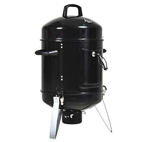 Outsunny Charcoal Smoker Grill 3 in 1 Design Round BBQ Roaster Barbecue with Built-in Thermostat, Water Pan and Hooks Camping Garden Patio Outdoor- Black