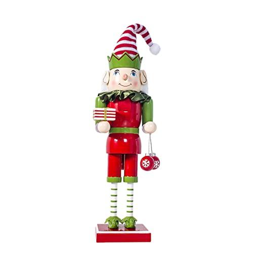 Dongzhi Cascanueces de Navidad – 41 cm de madera, figura de soldado, muñecos, juguete para decoración de Navidad, hogar, oficina, mesa de escritorio, adornos, niños y adultos