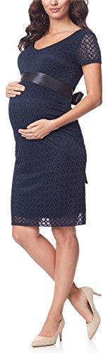 Be Mammy Damska Sukienka Ciążowa Świąteczna Koronkowa Sukienka Ciążowa z Krótkimi Rękawami BE20-162 (Navy2, XXL)