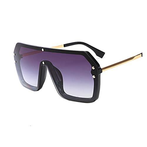 Gafas de Sol de Gran tamaño cuadradas Mujeres Plana Plana Claro Black Sun Glasses Femenino Vintage Big Frame Red Shield Eyewear UV400 (Lenses Color : Gold Double Gray)