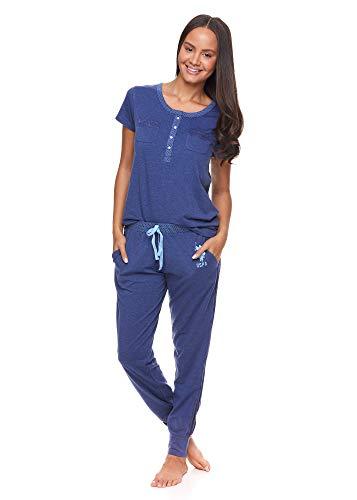 U.S. Polo Assn. Womens 2 Piece Short Sleeve Pocket Shirt Pajama Sleep Sweatpants with Pockets Blue Depth Heather Large