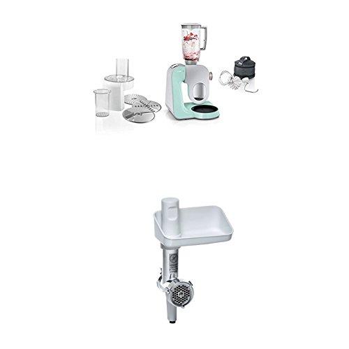 Bosch MUM58020 Küchenmaschine CreationLine, 1000 W, 3,9 l Edelstahl-Rührschüssel, 3D Rührsystem, 7 Schaltstufen, turquoise/silber + MUZ5FW1 Fleischwolf