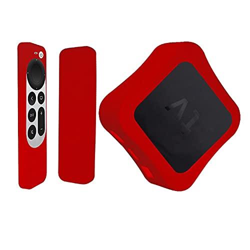 MNSFA Funda Protectora de Silicona para TV Box, Antideslizante, a Prueba de Golpes, con Control Remoto, para Apple TV 2021 4K de 6a generación, Funda Protectora Antideslizante Ligera (Red)