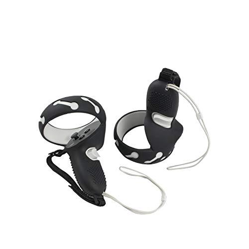 Griffabdeckung Staubschutzschutzhülle Kompatibel mit Oculus Quest 2 Touch Controller Anti-Throw Schutzhülle Staubdichtes Zubehör Mit Handgelenkknöchelriemen Silikonhülle Shell (Schwarz)