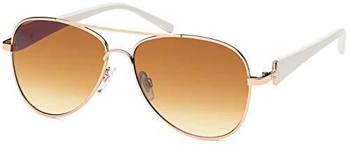 styleBREAKER Damen Pilotenbrille mit getönten Gläsern, Sonnenbrille mit lackierten Bügeln und Strassstein 09020053, Farbe:Gestell Gold-Weiß/Glas Braun verlaufend