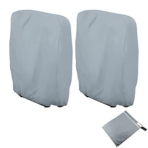 Schutzhülle Klappstühle 2Stk Abdeckung Gartenmöbel UV-Beständig Klappstuhl Abdeckung Winddicht Schutzhülle für Klappstühle Klappbaren Liegestuhl Deckchair aus 210D Oxford 110x71cm, mit Tragetasche