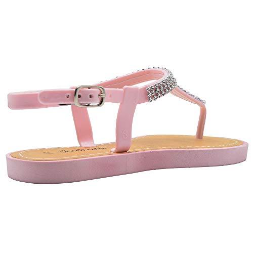 Chatties Girls Flip Flops 2-3 M US Little Kid Thong Sandal with Rhinestone Straps Dress Slip On Summer Shoe Fuchsia