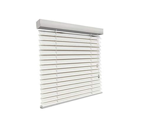 SUNLUX24 Holzjalousien 50mm auf Maß weiß (JH058) / Breite 60,1 bis 70 cm x Höhe 240,1 bis 250