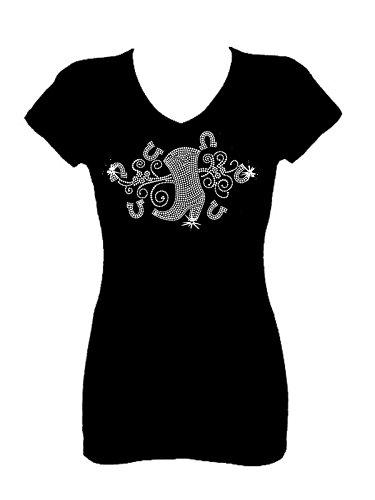 Rockeroo Boutique Cowgirl Boots Angel Wings Rhinestone Womens V Neck Short Sleeve Tee Shirt (L) Black