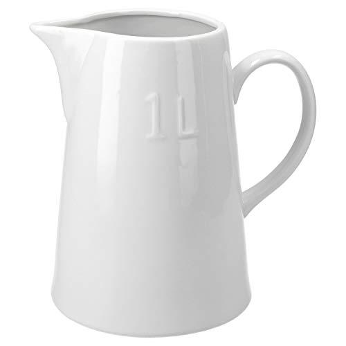MamboCat Milchkanne 1 Liter aus Porzellan | 18,5 x 9,5 cm | Milchkännchen weiß | Getränke servieren | Privat oder Gastronomie