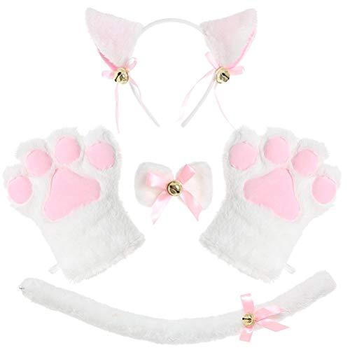 Juego de 4 bandas para el pelo, juego de disfraz de gato para disfraz de cola de gatito y orejas, para Halloween