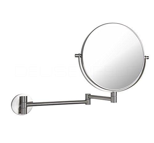 DEUSENFELD K52EG - Echt Edelstahl doppel Wand Kosmetikspiegel, 5X Vergrößerung + Normalspiegel, Ø20cm, 360° vertikal und horizontal schwenkbar, Echt Edelstahl SS304 matt gebürstet