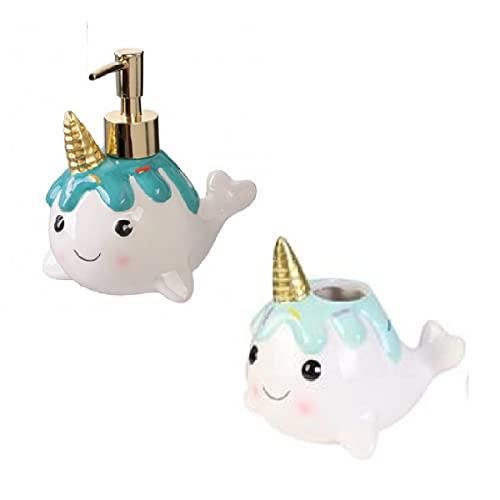 Udc CMP - Dispensador de jabón y soporte para cepillo de dientes, ballena, unicornio de cerámica, color blanco y azul