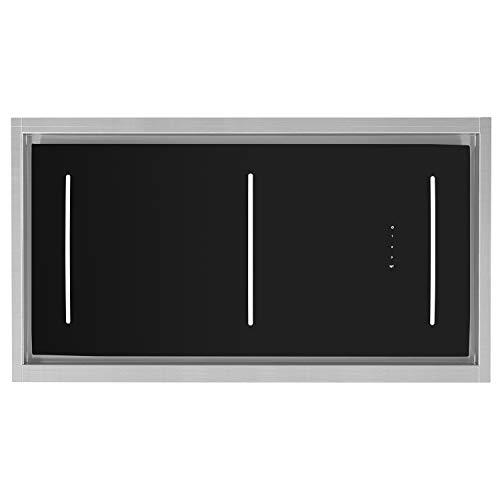 KKT KOLBE Decken-Einbau-Dunstabzugshaube/Lüfterbaustein / 110cm / Edelstahl / 4 Stufen/schwarzes Glas/LED-Beleuchtung/SensorTouch Steuerung/Abluft oder Umluft / INTEGRA110