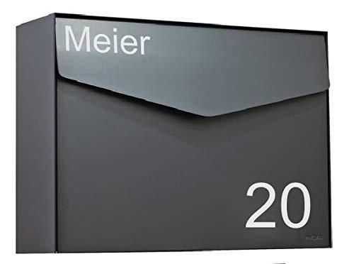 Briefkasten Aufkleber Hausnummer + Name - Farbauswahl, Wunschtext, Schild