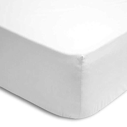 (Blanca 105) 100% Cotton SÁBANA Bajera Lisa Ajustable con ELÁSTICO Inferior Adaptable COLCHÓN hasta 30 CM REGALITOSTV (Blanca, 105_x_200_cm (Cama Cuerpo Y Medio))