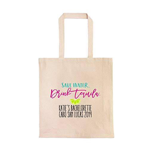 Save Water, Drink Tequila Personalisierte Junggesellinnenabschied Party Tote Bag Cabo, Cancun, Mexico Custom Bachelorette Tasche Tequila Geburtstag Party