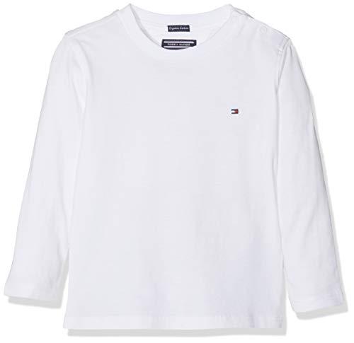 Tommy Hilfiger Boys Basic Cn Knit L/s Camiseta, Blanco (Bright White 123), 152 (Talla del Fabricante: 12) para Niños