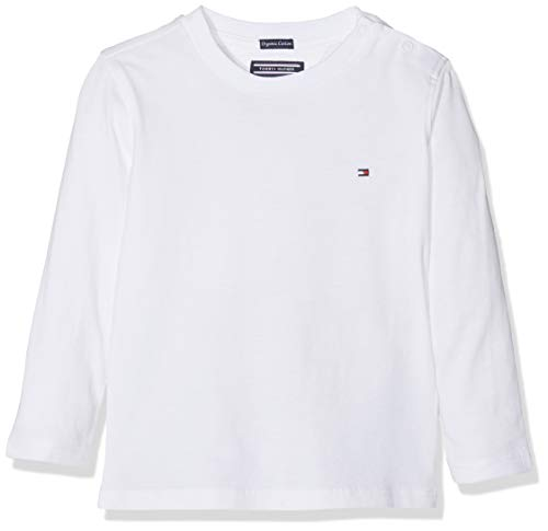 Tommy Hilfiger Jungen Boys Basic Cn Knit L/S T-Shirt, Weiß (Bright White 123), 164