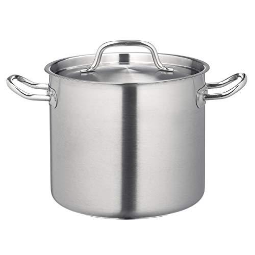 METRO Professional Suppentopf mit Deckel | Ø 28 cm | Edelstahltopf für Induktion | Sandwichboden | Schüttrand | Backofenfest bis 240 °C | Spülmaschinenfest | Kochtopf für gewerblichen Einsatz