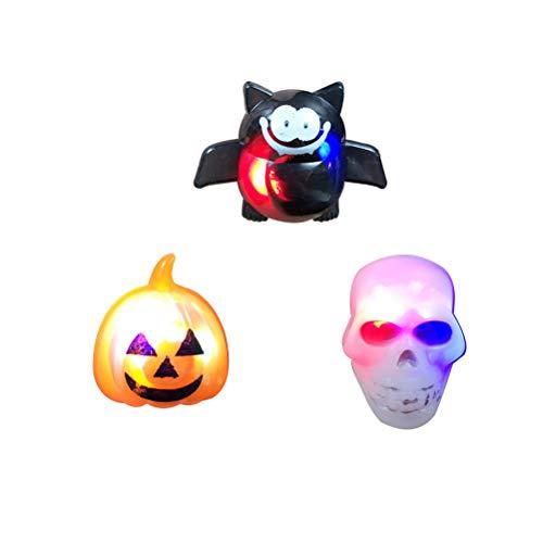 NUOBESTY 12 Stück Halloween Ringe LED Kürbis Fledermaus Sull Ringe leuchten Spielzeug Ringe für Kinder