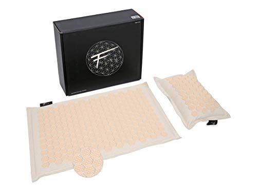 Fitem - Set de acupresión de alta gama y ecológico, alfombra de acupresión + cojín + bolsa, alivio del dolor de espalda y cuello, relaxación muscular y estimuladores