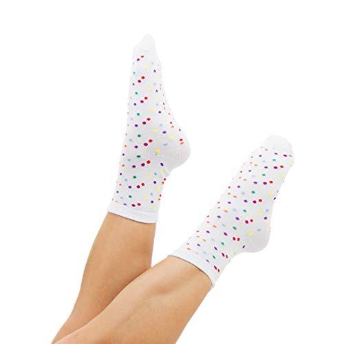 Außergewöhnliche Damensocken / Söckchen – Typ Eiscreme: bunte Punkte – lustige Socken für Damen – weiche Baumwolle – mit Schnürbatik gefärbt