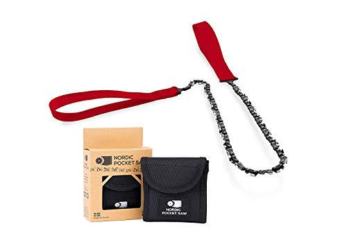 Nordic Pocket Saw Motosierra de Mano - Sierra de Cadena 65 cm con Asas de Nailon - Sierra Manual de Bolsillo Portátil - Sierra Supervivencia Acampada Senderismo - Versión ORIGINAL 33 Dientes