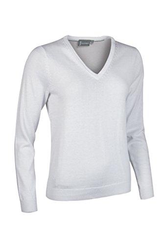 Glenmuir Damen Golf-Pullover LKC2591VN, V-Ausschnitt, Baumwolle M weiß