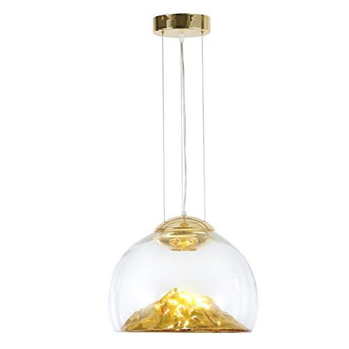 DECORATZ LED Glas Lampenschirm Pendelleuchte, eingebaute Hügel Dekorationen Gold, Moderne und einfache Restaurant Bekleidungsgeschäft Balkon Dekoration Decke Droplamp-D37*H30CM