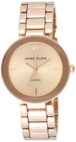 Anne Klein AK/N1362CHGB - Orologio da donna al quarzo, con display analogico e cinturino in lega dorata Polsino oro rosa