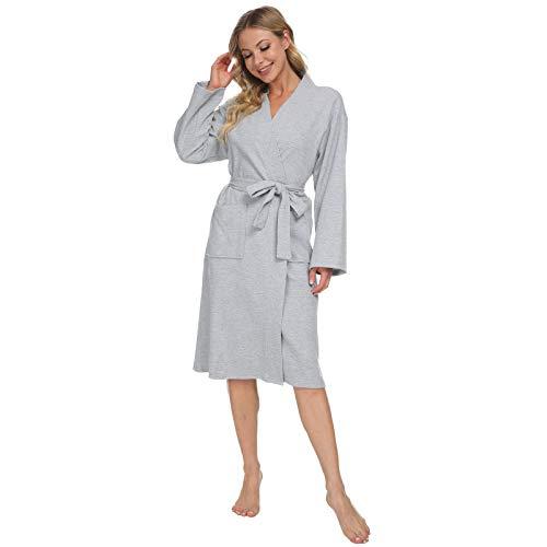 Mnemo - Bata de baño para mujer, tipo kimono, algodón, con bolsillos gris mezclado XS