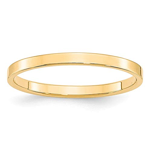 14k Yellow Gold 2mm Flat Wedding Ring Band Size 6.5 Classic Fine Jewelry For Women Gifts For Her