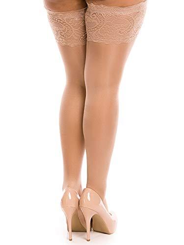 BIGGI BIG Lace 20 halterlos Strümpfe Große Größen-make up-48-50